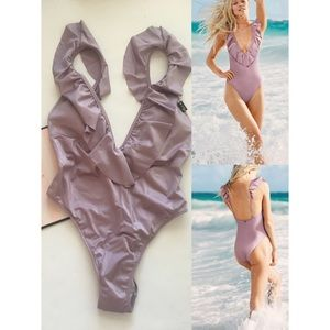 Victoria's PINK RUFFLE DEEP-V ONE-PIECE swimsuit